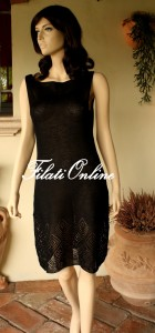 A20N abito nero senza manica con fondo ricamato
