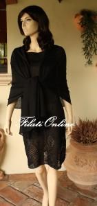 A20SN stola nera per abito nero senza manica con fondo ricamato