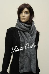 SC2 sciarpa treccione misto lana grigio con lurex trasparente