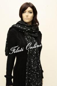 SC3 sciarpa con treccione grigio scuro