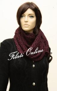 SC4 sciarpa punto fiore misto lana vinaccia