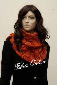 SC8 sciarpa gioiello misto merino arancio con lurex misura 20x160cm e pesa 355gr costo 35,50€