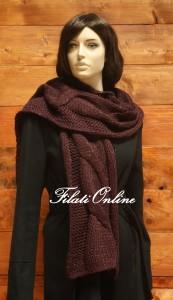 SC02 sciarpa treccione misto lana vinaccia con lurex oro misura 27x188cm e pesa 135gr costo 24€