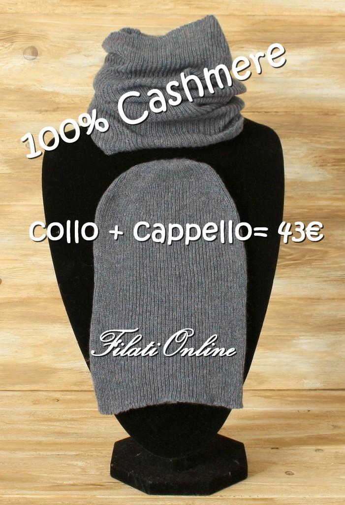 CCWS1 coppia cappello e collo a coste in puro Cashmer