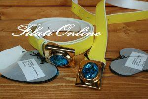 Cintura in pelle giallo intenso con fibia in oro e perla azzurra