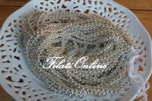 PER10 perline argento su filo bianco