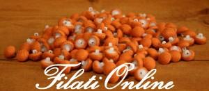 BO100 Lotto bottoni rivestiti in maglia arancio