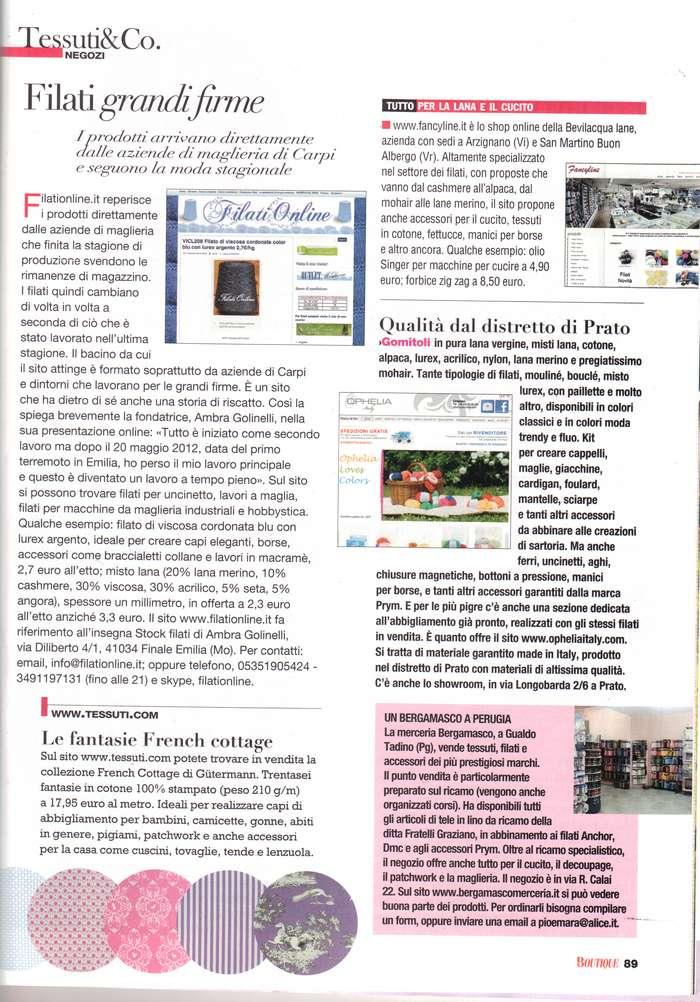 Parlano di me filati on line vendita filati italiani for La mia boutique gennaio 2017