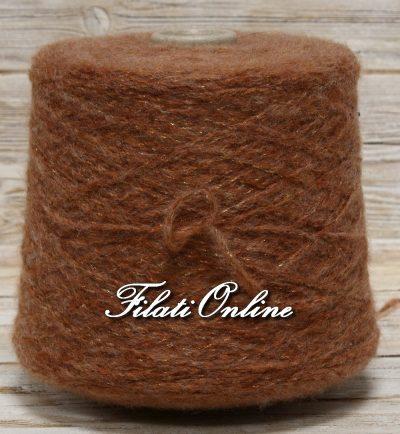 WOL301 Filato misto lana e mohair marrone chiaro mogano con lurex oro