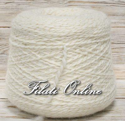 WOL500BP Filato stoppino misto lana alpaca bianco panna con lurex oro 1030gr 25,75€ - 980gr 24,50€
