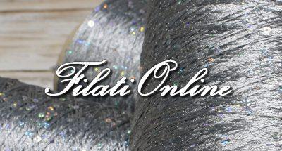 PA310 filato di viscosa cordonata color grigio chiaro con paillettes olografiche