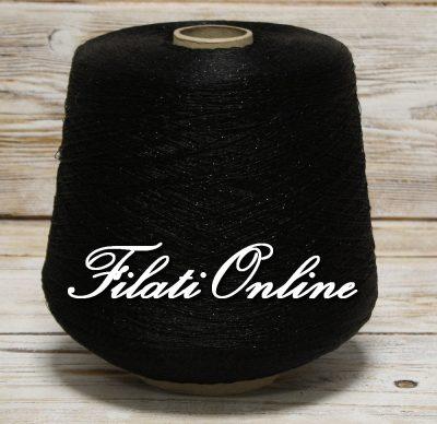 AL80NN filato simil seta nero con lurex nero 1095gr 43,80€