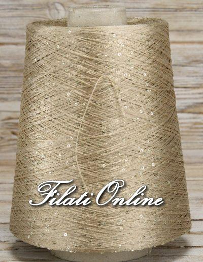 PA120 filato di viscosa cordonata oro con paillettes oro