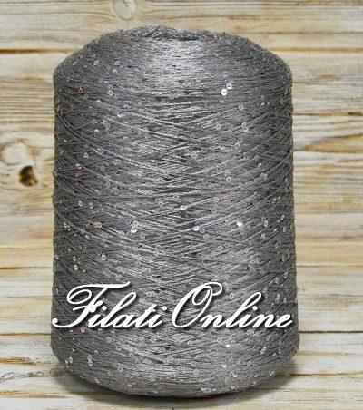 PA155 filato di viscosa cordonata argento con paillettes argento.