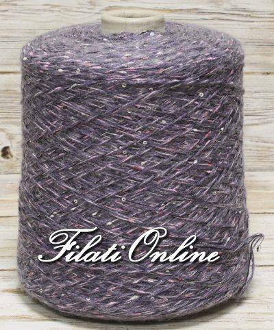 WO301l filato misto lana lilla con paillettes argento