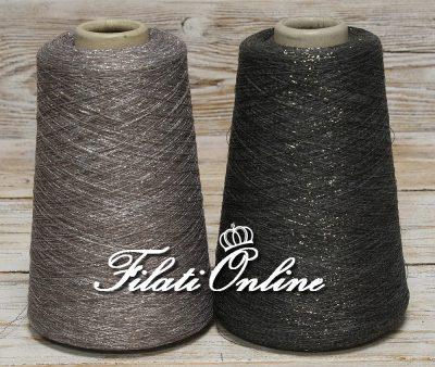 COL50 Lotto 2 rocche di filato in cotone e lino grigio con lurex