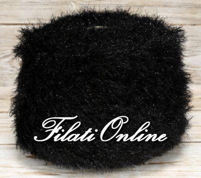 PL200n Filato pelliccioso con lurex morbidissimo color nero