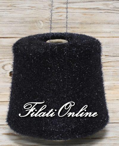 PL100n Filato pelliccioso effetto lurex morbidissimo perfetto per il Natale blu nero