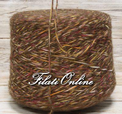 WOL300 filato misto lana con lurex multicolore marrone con lurex oro