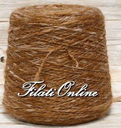 WOL600 Filato misto lana marrone ocra con lurex trasparente