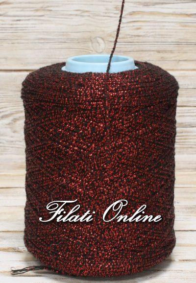 WOL255 Filato in lana nero rivestito in lurex rosso