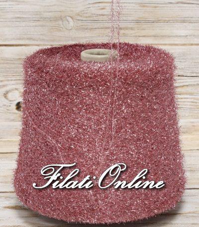 PL152r lurex GRIGIO argento con lavorazione a pelliccia rosa antico