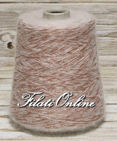 WML350 Filato misto mohair bianco con lurex rosa antico